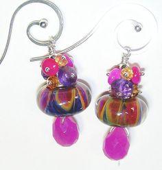 Tribute to Reggae Artisan Boro Bead Earrings in Magenta