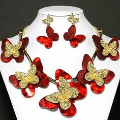Butterfly Red Gold
