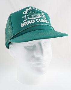 bd63653a4b9e1 L I Green Seal Hard Clams Mesh Vintage Trucker Snapback Cap Hat 80s 90s