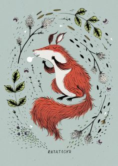 Kate Hindley, illustrator  Ratatoskr, the gossiper. A mischievous squirrel from Norse mythology who spends  all his time running up and down the tree spreading gossip.  HOLLOW LOG BLOG