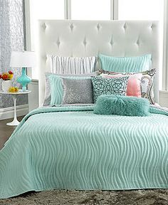 Suzanne & Tom: King quilt for when we buy a new bed this year! INC International Concepts Marni Coverlet Collection - Quilts & Bedspreads - Bed & Bath - Macy's Bedroom Green, Bedroom Colors, Dream Bedroom, Home Bedroom, Girls Bedroom, Bedroom Decor, Bedrooms, Bedroom Ideas, My New Room