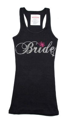 "RHINESTONE /""BRIDESMAID OR BRIDE/"" TANK TOP SHIRT PERFECT GIFT SILVER RHINESTONES"
