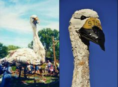 Thirty foot tall Tundra Swan created out of Mississippi River Garbage