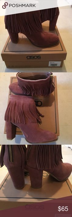 🆕Blush/Mauve fringe booties Box included. Worn once indoors! Genuine suede. Block heel. 3.5-4 inch heel. Back zip. ASOS Shoes Ankle Boots & Booties