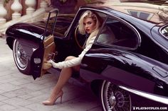 Kayslee Collins Does Playboy Shoot in Jaguar E-Type Coupe: Old Hollywood Glam - autoevolution Jaguar E Type, Jaguar Xk, Jaguar Cars, Sexy Cars, Hot Cars, Carros Jaguar, Thelma Et Louise, Sexy Autos, Car Poses