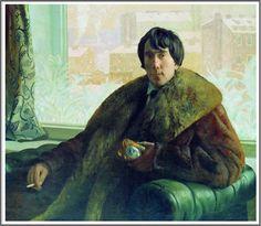 Boris Mikhailovich Kustodiev (1878-1927), Portrait d'Isidore Samoilovych Zolotarevskii, architecte et sculpteur, en manteau de fourrure - 1922. Sale Artwork, Russian Art, Painting, Art, Realism Art, Portrait, Artwork Painting, Realism, Portrait Gallery