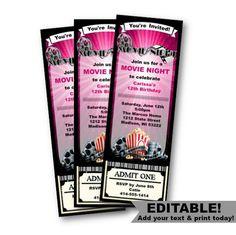Admit One Invitations Template Free Fresh Movie Ticket Invitation Birthday Movie Night Girl by Pinkpoproxx Movie Party Invitations, 1st Birthday Invitation Template, Minnie Mouse Birthday Invitations, Party Tickets, Ticket Invitation, Movie Tickets, Invitation Ideas, Ticket Template Free, Sample Resume
