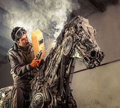 Incredible Steampunk Animal Sculptures Made Of Scrap Metal By Hasan Novrozi----The details in his Pegasus statue are out of this world amazing. Even down to the perfectly shaped fetlocks, hooves and flared nostrils—as an equestrian I truly admire the details the artist applied to the horse. This same detail is found in all of his work, no matter what type of animal he is creating, no curve or feature goes forgotten.