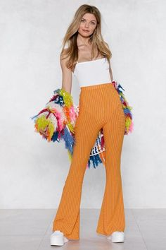 Flare to be Different Striped Pants Nasty Gal Flare to be Different Striped Pants Uni Outfits, Cute Casual Outfits, Pretty Outfits, Summer Outfits, Fashion Outfits, Church Outfits, Pretty Clothes, Cute Little Girl Dresses, Girls Dresses