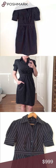 Bcbgmaxazria Pinstripe shirt Dress In excellent condition! Pinstriped Career Dress, perfect for the office! I simply love this dress! It's very classy and timeless and looks great! Size 0, measurements to come. BCBGMaxAzria Dresses
