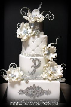 Sandra's Cakes - There's a bit too much going on with this cake, but I like it minus the monogram and appliqué.