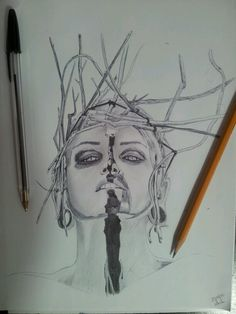 realistic girl with bic and pencil