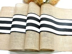 Country chic table runner to decorate your rustic wedding table or for any other occasion. The table runner is made of natural burlap and decorated in the middle with black and white French stripes appliqué, the runners edges are overlocked (serged) for extra durability and beauty. Size : 14 wide Please select the length at select dimensions This runner can be custom made in any length ,to accommodate your specifications. Thank you for taking in consideration my work and please do not hes...