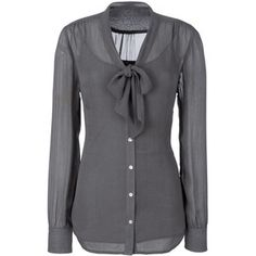 Long Blouse With Elegant Pussy Bow Detail - Stunning Grey Blouse For Tall Women.