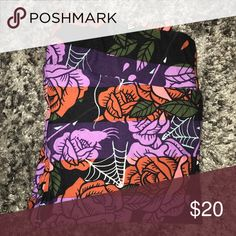 TC Lularoe Halloween Leggings Black and purple stripes with roses and spider webs.  New, never worn but no tags. LuLaRoe Pants Leggings
