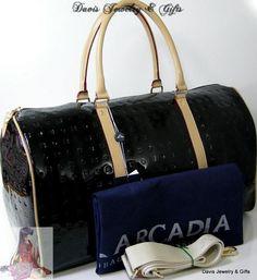 Arcadia Purse XL Huge Satchel Duffel Gym Bag Tote Black Italy Patent Leather NWT | eBay