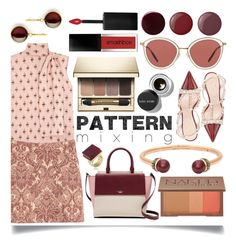 """""""Head-to-Toe Pattern Mixing"""" by ittie-kittie ❤ liked on Polyvore featuring Valentino, Oliver Peoples, H&M, Bobbi Brown Cosmetics, Kate Spade, Syna, Clarins, Urban Decay, Henri Bendel and Trina Turk"""