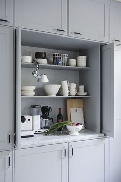 To de clutter, hide coffee maker, toaster, blender creative grey kitchen cabinet ideas for your kitchen 101 Shaker Style Kitchens, Home Kitchens, Kitchen Interior, Kitchen Decor, Kitchen Colors, Rustic Kitchen, Kitchen Ideas, Grey Kitchen Cabinets, Tall Cabinets