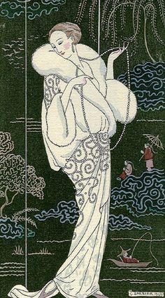 cavetocanvas:  George Barbier, Manteau de Velours Blanc…, 1913.