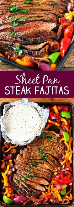 Sheet Pan Steak Fajitas Searching for delicious and easy Steak Recipes idea ? Thi recipe will soon become your favorite recipe keeper! Steak Fajita Recipe, Flank Steak Recipes, Easy Steak Recipes, Beef Recipes, Mexican Food Recipes, Marinade Steak, Vegan Recipes, Dinner Recipes, Skirt Steak Recipes