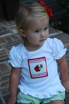 First Day of School smocked apple shirt