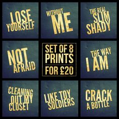 "Set of 8 - Eminem Song Title Prints - Square 8x8"" Each - Quote Rap Hip-Hop Pop Music Lyric Typography - Poster Wall Art Gift Feature Decor #eminem #slimshady #notafraid #loseyourself #poster #withoutme #therealslimshady #thewayiam #cleaningoutmycloset #liketoysoldiers #crakabottle #drdre #poster"