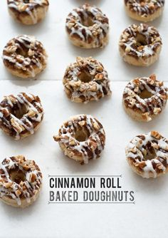 Pin for Later: 20 Baked Doughnut Recipes, Because Frying Is Overrated (and Messy!) Cinnamon Roll Baked Doughnuts Why choose between a cinnamon roll and a doughnut for breakfast when you can have both in one tidy package? Baked Doughnut Recipes, Baked Doughnuts, Doughnut Pan, Doughnut Shop, Cinnamon Roll Donut Recipe, Baked Food, Donuts Donuts, Cinnamon Donuts, Cinnamon Recipes