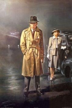 "Romantic American art prints - Humphrey Bogart and Ingrid Bergman in ""Casablanca"". A movie masterpiece. Classic Movie Posters, Classic Movies, Film Casablanca, Ingrid Bergman Casablanca, Humphrey Bogart Casablanca, Bogart Movies, Illustrator, Pulp, Cultura Pop"