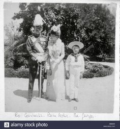 Download this stock image: King Constantine of Greece his wife Queen Sophia and their son Prince George - B862E8 from Alamy's library of millions of high resolution stock photos, illustrations and vectors.