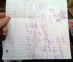 25 Hilarious Notes Written by kids...HILARIOUS!! I love the letter written to a sailor Bahahahaha