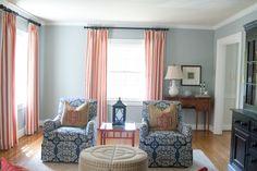 Blue & Coral living room #stripes #farrowandball #blueikat #adelelexington #monogram