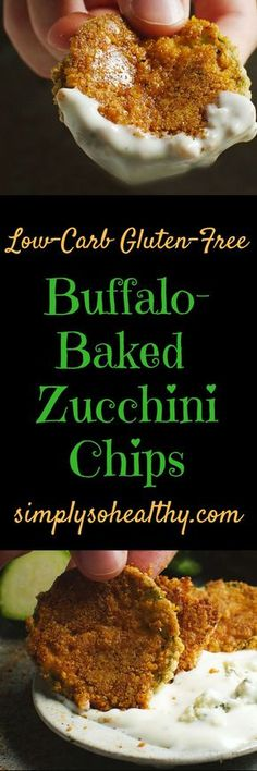 These Low-Carb Buffalo Baked Zucchini Chips make a delicious snack or side dish. They can be part of a low-carb, ketogenic, Atkins, gluten-free, grain-free, lc/hf, or Banting diet.