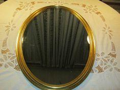 Vintage Spiegel mit HolzrahmenOvalGoldfarbenHöhe ca.65