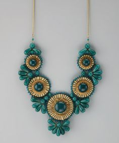Look what I found on #zulily! Green & Gold Medallion Bib Necklace #zulilyfinds