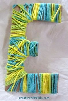 Yarn Wrapped Letters {Classic Kids Crafts} - To do with Preschoolers! Crafts To Do, Arts And Crafts, Diy Crafts, Yarn Crafts For Kids, Simple Crafts, Paper Crafts, Projects For Kids, Craft Projects, Craft Ideas