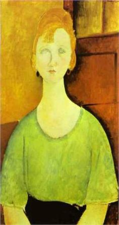 Amedeo Modigliani (1884 -1920) | Expressionism | Girl in a Green Blouse - 1917