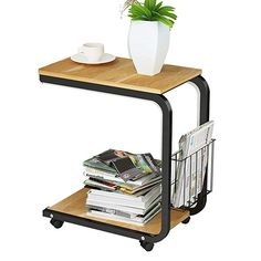 LANN End Table Sofa Table Side/Coffee/Snack/Storage Table with Wheels for Home,Living Room,Office Teak Lap Table, Sofa Side Table, Table Desk, Dining Table, Small Tables, End Tables, Coffee Tables, Table Mobile, Sofa Bed Office