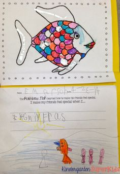 FREE Rainbow Fish Coloring and Writing Activity - Perfect for a Kindergarten or 1st Grade Ocean Animals Unit