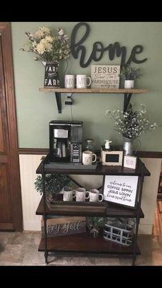 Coffee Bars In Kitchen, Coffee Bar Home, Coffee Bar Ideas, Coffe Bar, Coffee Bar Station, Home Coffee Stations, Coffee Bar Design, Coffee Nook, Coffee Corner