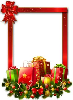presents free transparent | Red Large Christmas Transparent PNG Photo Frame with Presents