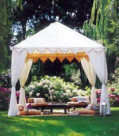 tent in beautiful garden