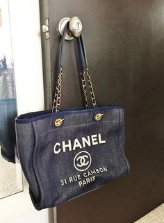 a92304c74f53 Authentic Chanel Navy Blue   Denim Tote Bag  CHANEL  TotesShoppers
