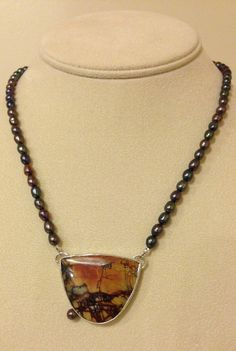 Agate and Pearl Necklace Montana Agate Necklace by ZeniaLisJewelry