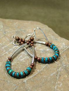Turquoise Earrings  Hoop Earrings  Southwest by StoneWearDesigns, $28.00