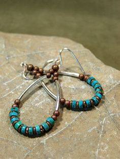 Turquoise Earrings - Hoop Earrings - Southwest Earrings - Beaded Earrings - Bohemian Earrings - Heishi Earrings