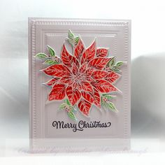 For the WT today, to use white embossing powder. I used ZIG watercolor pens to color the poinsettia image. Merry Christmas Photos, Christmas Cards, Poinsettia Cards, Monthly Themes, Pen And Watercolor, Girl Blog, Tea Party, Stampin Up, Paper Crafts