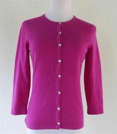 Anntaylor 100 Cashmere Women Cardigan Sweater Pink Rhinestone Buttons Size XS | eBay