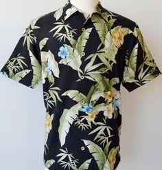 74528dd7 NEW TOMMY BAHAMA MEN'S PARADISE RETREAT 100% SILK BLACK HAWAIIAN CAMP SHIRT ~L