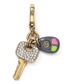 """Juicy Couture CAR KEYS Charm; Gold Plated with Rhinestones and Colored Resin Accents in Juicy Gift Box - Authentic Juicy Couture Charm Product Features  Juicy Couture """"Car Keys"""" Charm with Pave Rhinestone Embellishments Covering Top Portion of Key on"""