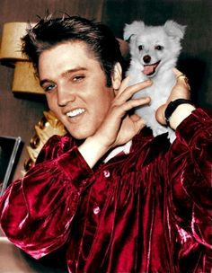 """Elvis and """"Sweet Pea"""", a puppy he had given to his mother, Gladys; October 18, 1956"""